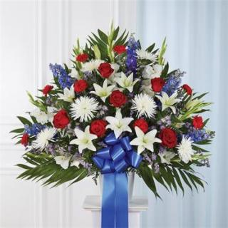 Heartfelt Sympathies Standing Basket- Red, White & Blue