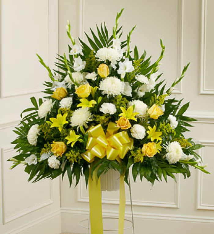 Yellow and White Sympathy Standing Basket