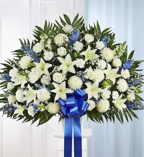 Heartfelt Sympathies Standing Basket- Blue & White