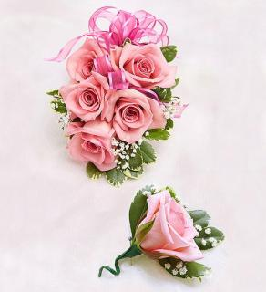 Pink Rose Corsage and Boutonniere
