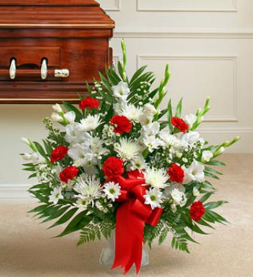 Red and White Sympathy Floor Basket