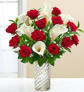 Stunning Red Rose and Calla Lily Bouquet