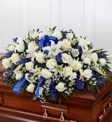 Blue And White Half Casket Cover