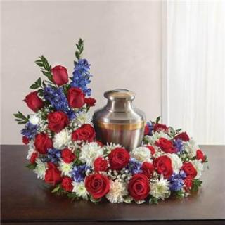 Cremation Wreath-Red, White & Blue