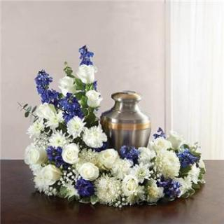 Cremation Wreath-Blue And White