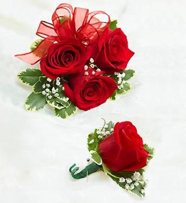Red Rose Corsage and Boutonniere