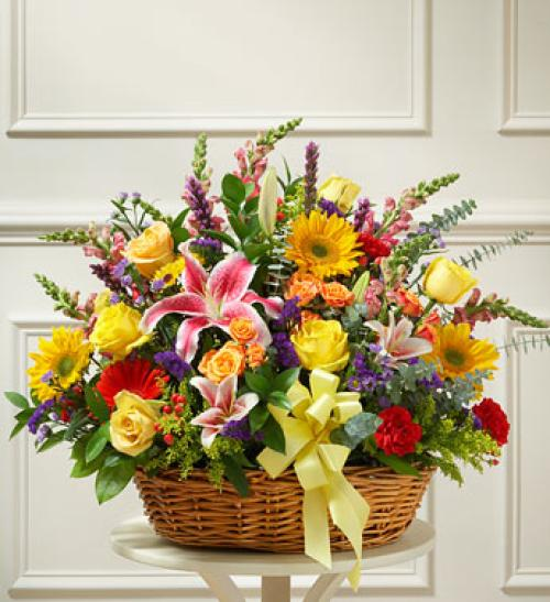 Bright Flower Sympathy Basket