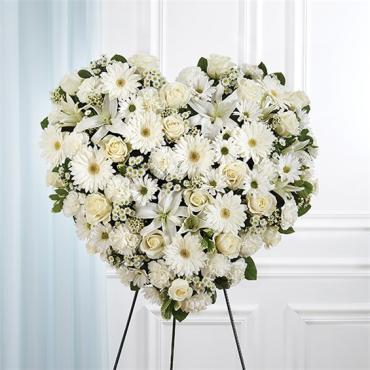 All White Mixed Flower Solid Standing Heart