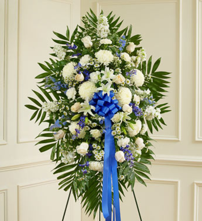 Blue and White Sympathy Standing Spray