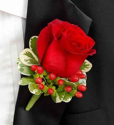 All Red Boutonniere