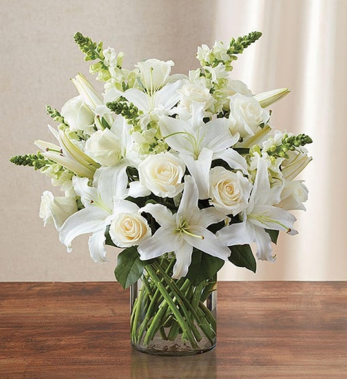 Classic All White Arrangement for Sympathy