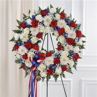 Serene Blessing Red, White & Blue Standing Wreath