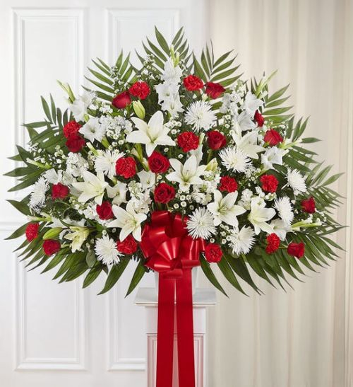 Heartfelt Sympathies Standing Basket- Red & White