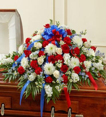 Red White and Blue Half Casket Cover