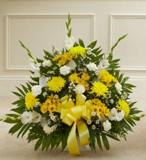 Yellow and White Sympathy Floor Basket