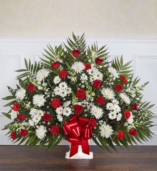 Heartfelt Tribute tm Red & White Floor Basket Arrangement