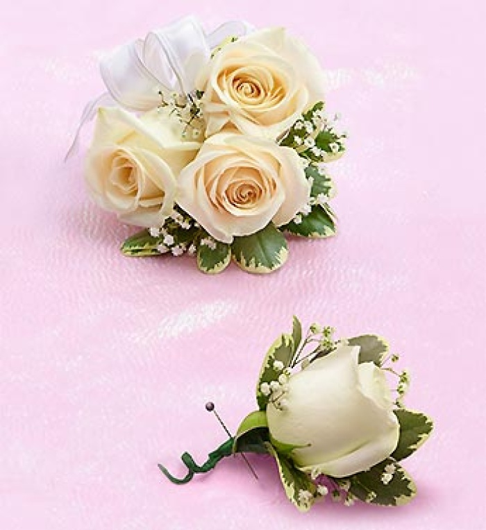 White Rose Corsage  Boutonniere
