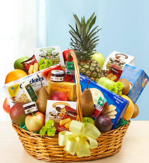 Deluxe Fruit and Gourmet Basket for Sympathy