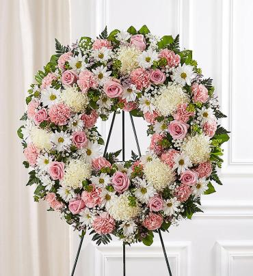 Serene Blessings Standing Wreath- Pink & White