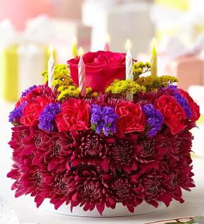 Birthday Flower Cake Purple