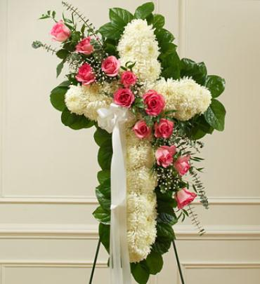 White Cross with Pink Rose Break