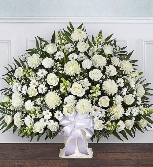 Heartfelt Tribute tm White Floor Basket Arrangement
