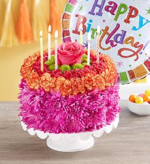 Birthday Wishes Flower Cake Vibrant