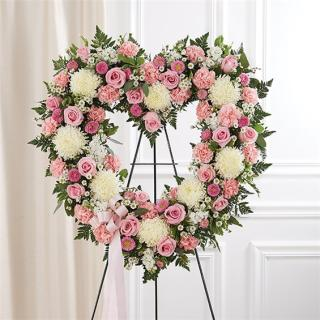 Always Remember Floral Heart Tribute - Pink & White