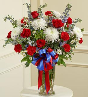Red White and Blue Large Sympathy Vase Arrangement