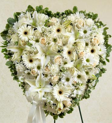 White Heart Standing Wreath